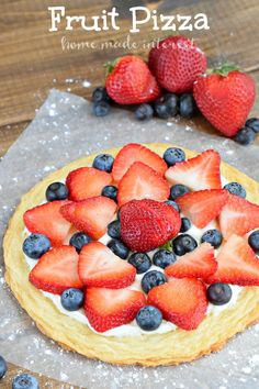Yum, this summer fruit pizza is perfect for 4th of july, BBQs, picnics, or any summer party! Fresh strawberries and blueberries make this an awesome cookie dessert recipe.