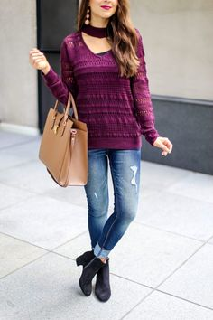 Burgundy V Neck Sweater for Fall. Choker Sweater. Burgundy Fall Tops. Fall Color Tops. Fall Sweaters. New York and Company. Fall Fashion Casual Outfits.