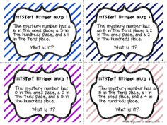 Place Value Mystery Number Cards