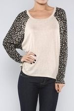 Leopard Sleeves Top, Oatmeal
