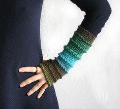Long Fingerless gloves in bohemian style Wool by MarryGKnitCrochet
