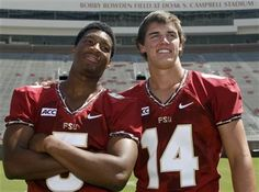 Florida State QB's Jameis Winston (5) and Jacob Coker (14).