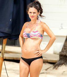 Rachel Bilson multi-color bikini top + black bottoms