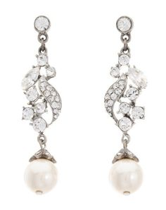 Thomas Laine Ben-Amun Bridal Crystal Pearl Drop Earrings Wedding Jewelry - The Knot