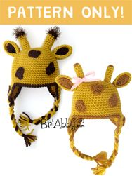 Adorable crochet giraffe hat pattern. Works up quickly and makes for a great photo prop! www.briabby.com/patterns