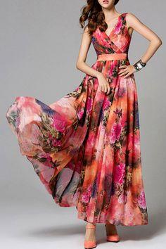 Boho Print Layered Maxi Dress