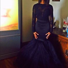 Black Mermaid PROM DRESS Black long sleeve mermaid dress, flare at the bottom. There's a tear under the arm and it fits tight. WORN ONCE Dresses Long Sleeve