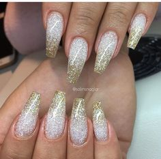Gold and silver ombre glitter nails