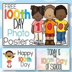 100th Day of School - 100th Day of school FREE Photo PostersFree download ready for the 100th Day of School celebrations. Print these color posters and have children hold them when you take a photo on the 100th day of school. This is a great keepsake and tradition that you can repeat year in, year out.