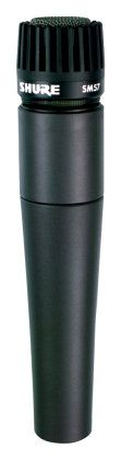 """The Shure SM57 microphone is perfect for close-miking loud guitar cabs, with its tailored frequency response and ability to handle high SPL (sound pressure level). In general, pointing the mic toward the outer edge of a speaker cone will yield a darker, fatter sound, while the cone's center will yield a brighter sound -- move your '57 around to find the """"sweet spot"""" on your particular amp."""