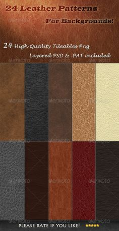 24 Tileable Leather Textures by IA-DESIGN 24 Tileable Leather Backgrounds Textures & PatternCreate amazing backgrounds for your print documents and your websitesThis pack c Best Photoshop Actions, Cool Photoshop, Photoshop Effects, Text Effects, Photoshop Elements, Portrait Background, Grunge, Leather Texture, Leather Pattern