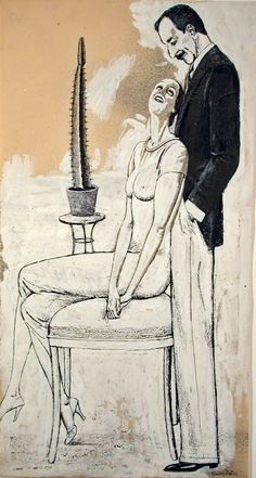 Couple with Cactus by Rudolf Bauer (German 1889–1953) davidcharlesfoxexpressionism.com #rudolfbauer #expressionism #geometricart #abstract