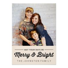 Black Merry & Bright Christmas Photo Flat Cards  | Visit the Zazzle Site for More: http://www.zazzle.com/?rf=238228028496470081