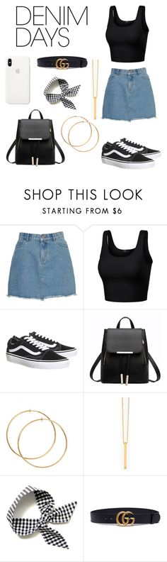"""Jean Dreams"" by lex341 ❤ liked on Polyvore featuring Topshop, Gorjana, Gucci and denimskirts"