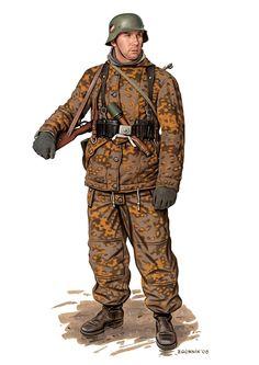 1945 c. Soldado alemán en uniforme de campaña.