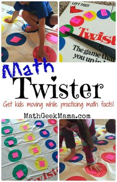 Use the classic game Twister to practice all sorts of math facts! A great way to get kids moving and learning at the same time!
