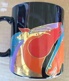 Laurel Burch 2004 Horses stallions Black Metallic Coffee Mug  | eBay