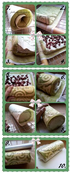♥: ♥ Swiss-roll Step by Step guide cake matcha 瑞士卷步骤和过程图解 ♥ Cake Roll Recipes, Dessert Recipes, Asian Desserts, Just Desserts, Cake Matcha, Swiss Roll Cakes, Jelly Roll Cake, Just Cakes, Creative Cakes