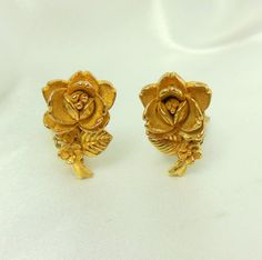 Vintage Earrings Rose Figural Clip Ons by VJSEJewelsofhope on Etsy, #vjse2 #boebot #etsybot2 #vintage #jewelry $12.00