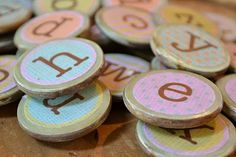 Little Lucy Lu: alphabet magnets . the cute way Homemade Magnets, Diy Magnets, Round Magnets, Magnetic Alphabet Letters, Cute Alphabet, Diy For Kids, Gifts For Kids, Crafty Projects, Crafts To Do