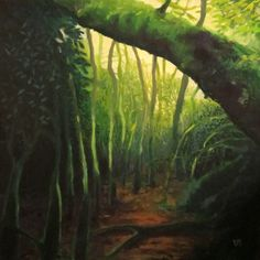 FREE SHIPPING  Forest oil painting  Inside by MariaMazaPaintings