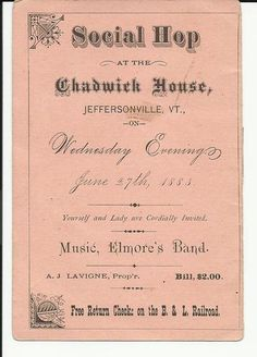 C1883 Adv Card Social Hop at The Chadwick House Jeffersonville Vermont