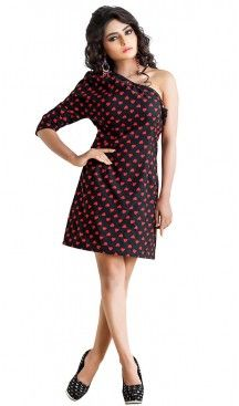 Black Color Crepe Silk Western Wear Readymde Dresses For Ladies | FH437369239