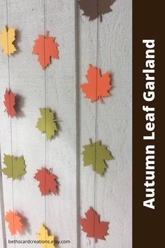 These paper fall leaves look like they are dropping from the trees. Hang them dangling from the ceiling or draped across a fireplace mantel for a lovely autumn decorations. #autumn #leaves #papergarland School Decorations, Autumn Decorations, Room Decorations, Garland Decoration, Halloween Decorations, Fall Crafts, Crafts For Kids, Fall Leaf Garland, Neat And Tangled