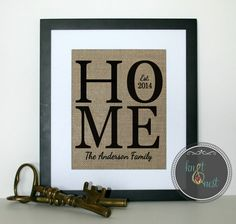 Personalized engagement gifts on Burlap, New Last Name Printed on Burlap, Established Date on Burlap, Art as House Warming gift