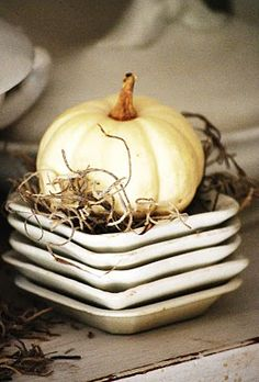 Whiffle pumpkins atop butter pats & Spanish moss