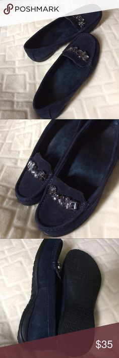 Blue Suede Shoes! By Vionic.  Used Navy suede loafers with unique accent beads.   Gently used Vionic Shoes Flats & Loafers