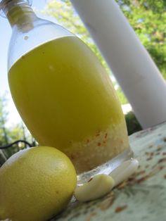 lemon garlic dressing/1/2 cup olive oil juice of one lemon 1/4 tsp. sea salt 8-10 cloves minced garlic 1/8 tsp. red pepper flakes dash of