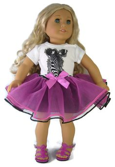 """Zebra Top + Berry Colored Tutu & Sandals for 18"""" American Girl Doll Clothes #Unbranded"""