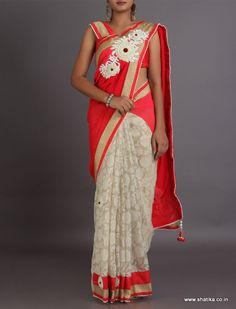 Aadya Delicate Weave With Bold Broach Patterned Pallu With Tasseled #DesignerLehengaSaree