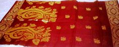 Bengal Tant (Cotton).. Dark Red and Golden Combination, only @INR 1400/-