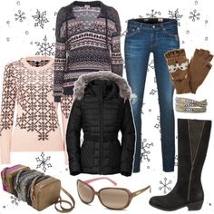 Calling all ski bunnies—the look du jour for wintertime fun calls for fabulous boots & super-warm accessories. Head to the mountains & show off your winter wonderland style at a cozy ski lodge. Get started with a few ski trip suitcase essentials: thermal top, comfy jeans, cozy sweater, down jacket & Fergie boots. Don't forget polarized sunnies, toasty gloves, simple @Stella and Dot accessories & a cute @RoviMoss crossbody.