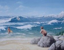 Fine art edition titled Aquatic Mountaineering by Rob Gonsalves