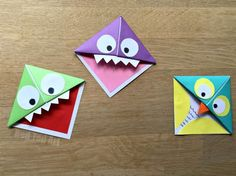 Fun Easy Origami Corner Bookmarks - turn them into Monsters, Owls and wherever your imagination takes you. A great little gift for book lovers on Fathers Day, Halloween or Teacher Appreciation halloween oragami Cute Bookmarks, Paper Bookmarks, Corner Bookmarks, Origami Bookmark Corner, Art For Kids, Crafts For Kids, Arts And Crafts, Paper Crafts, Origami Fish