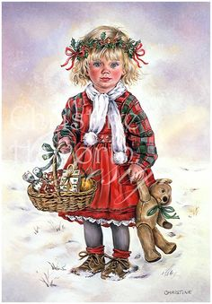Winter Paintbox Poppets : Christmas Miss © Copyright Christine Haworth Designs