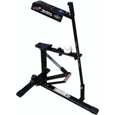 The Louisville Slugger Black Flame Ultimate Pitching Machine features adjustable pitch speed and height settings and pitches a variety of ball types.
