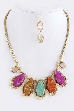 NATURAL CUT FAUX JEWEL LINK NECKLACE SET -Multi