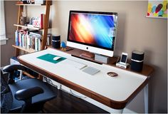 This simple, clean, minimal desk will help you create an office to be proud of. Designed by Kaiju Studios for Herman Miller, the Aria Desk has a minimalist design and elegant style, it helps you be organized. The desk features a primary surface made with high-performance white laminate for your laptop and a elevated secondary surface made from solid walnut for placing peripherals, papers, coffee cups and other gadgets. It also features covered cutouts to hide cables and a drawer with three…