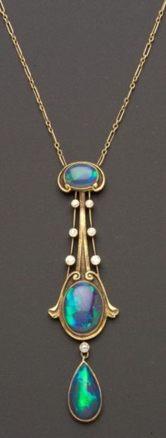 Art Nouveau Black Opal and Diamond Pendant, The Brassler Company | Sale Number 2370, Lot Number 418 | Skinner Auctioneers
