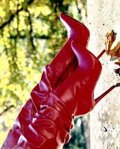 Knee High Heels, Thigh High Boots, High Heel Boots, Heeled Boots, Shoe Boots, Shoes, Beige Boots, Red Boots, Hot Heels