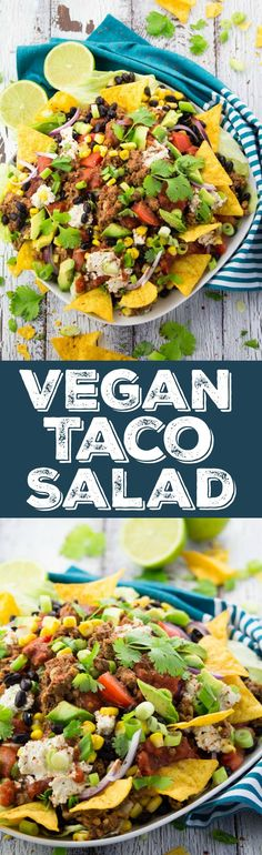 You won't miss the meat in this vegan taco salad with lentil walnut meat, black beans, and avocado. Super delicious and incredibly healthy at the same time!!