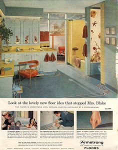 "Armstrong Vinyl Corlon (1950s). Trademarked in 1946 and introduced in the late '50s, Corlon became a popular ""luxury"" material. It was pricey, but was built to last."
