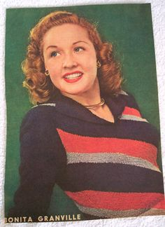 "Bonita Granville 1940's Magazine Clipping Orig. Color Tint 13""x9"" Sweater Girl!"