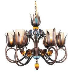 Van Teal Dance of Fire Collection D-ana Copper Finish Metal/Acrylic 6-light Chandelier (D' Ana Chandelier), Brown