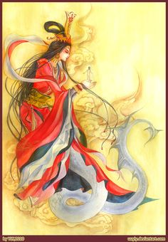 Nu Wa - ancient Chinese Goddess of creation, the Divine foremother of humans. After co-creating the earth, she saved the planet by patching up the falling sky
