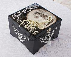 decoupage, szkatułka, czarno-biała, biżuteria, pudełko,